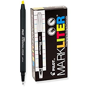 Pilot Markliter Stick Pen and Highlighter, Black Ballpoint Ink, Yellow Highlighter, Dozen Box (45600)