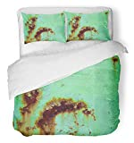 Emvency 3 Piece Duvet Cover Set Breathable Brushed Microfiber Fabric Blue Abstract Rust Spots on Metal Green Paint Chipped Corrosion Damaged Dirty Bedding Set with 2 Pillow Covers Full/Queen Size