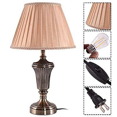 Costzon Bedside Table Lamp, Traditional Elegant Steel Base, Antique Style With Warm Fabric Shade Bulb for Bedroom Living Room Coffee Desk Lamp, Include LED Bulb, Cord