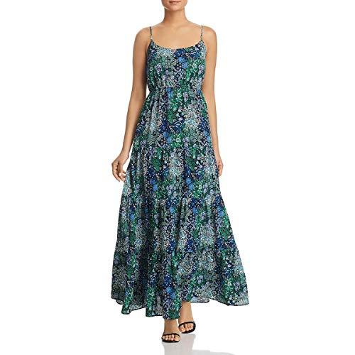 Michael Michael Kors Womens Printed Tiered Maxi Dress Navy S (Michael Kors Casual Dresses)