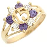 10k Yellow Gold Simulated Amethyst and White CZ Quinceanera 15 Anos Birthday Ring