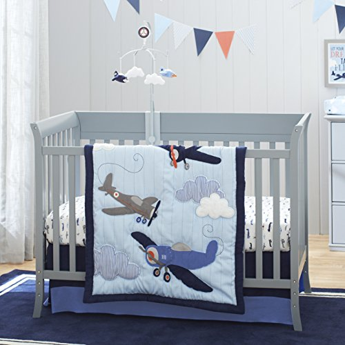 - Carter's Take Flight Airplane/Cloud/Star 4 Piece Nursery Crib Bedding Set, Blue, Navy, Grey, Orange