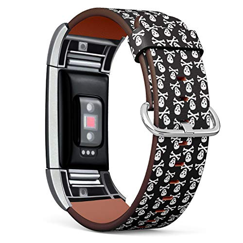 (Compatible with Fitbit Charge 2 - Leather Band Bracelet Strap Wristband Replacement with Adapters - Halloween Pirate Skulls)