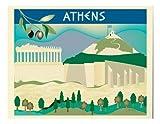 Retro International Travel Print - Athens - horizontal