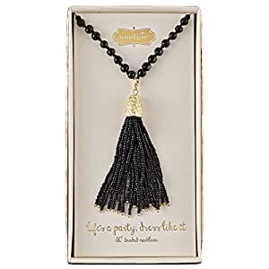 Mud Pie Women's Beaded Tassel Necklace, Black