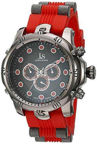 J&S Men's JS71RD Silver Multifunction Swiss Quartz Watch ...