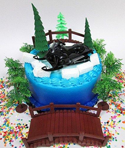 Winter Wonderland Snowmobile Winter Sport Birthday Cake Topp