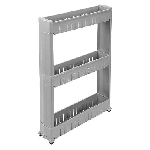 mDesign Carrito auxiliar para la colada – Versátil estantería con ruedas y 3 baldas, ideal como mueble para lavadero y otras zonas – Carro de ...
