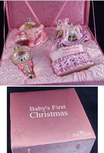 4-Piece Pink ''Baby's First Christmas'' Girl Glass Ornament Boxed Gift Set