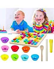 Houten go-spelset, houten clips kralen, bordspel, Early Education puzzelbordspel, houten go-spelset, houten go-gameset, Montessori pedagogisch houten speelgoed, puzzelbordspel