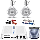 Pyle PFMRA350BW 2-Channel Bridgeable 200 Watts RMS Marine Amplifier, 2x Lanzar AQWB65W 6.5-Inch 2-Way 500 Watt Wake Board Tower Speakers - White, Pyle 8 Gauge Amp Install Kit, Enrock 18g Speaker Wire
