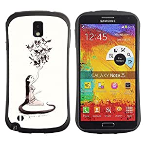 Be-Star Colorful Printed Design Anti-Shock Iface First Class Tpu Case Bumper Cover For SAMSUNG Galaxy Note 3 III / N9000 / N9005 N9000 N9002 N9005 ( nature love art girl birds long hair art drawing ) Kimberly Kurzendoerfer