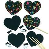 Lot de 10 Décorations à gratter Aimantés en forme de Coeur - Scratch Art idéal pour la St Valentin et la Fête des Mères