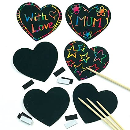 Amazon Com Baker Ross Kids Craft Scratch Art Heart Magnets To