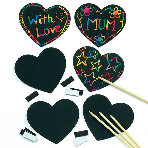 (Baker Ross Heart Scratch Art Magnets (Pack of 10) for Kids to Decorate, Arts and Crafts)