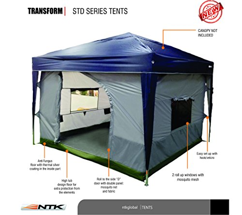 NTK TRANSFORM C&ing Tent attaches to any 10\u0027x10\u2032 Easy Up Pop Up Canopy. Tent with 4 Walls PE Floor 2 Super Wide Doors and Screened Windows \u2013 Fully ...  sc 1 st  Discount Tents Nova & NTK TRANSFORM Camping Tent attaches to any 10\u0027x10\u0027 Easy Up Pop Up ...