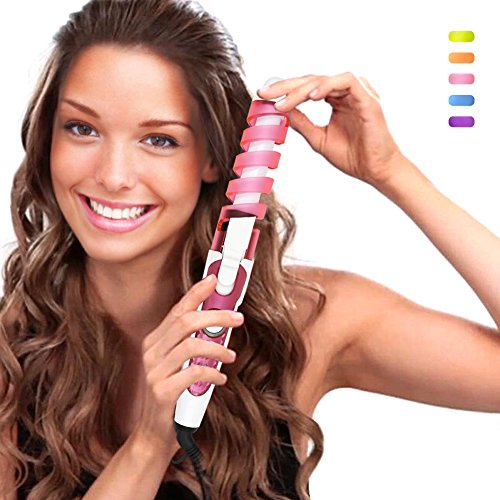 SexyBeauty Professional Portable Hair Salon Spiral Curl Ceramic Curling Iron Hair Curler Waver Maker (pink)