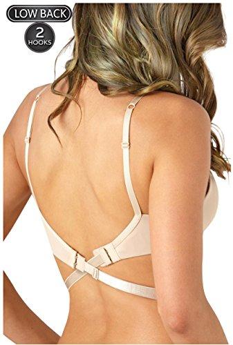 Low Back Strap - Coco's Closet Low Back Bra – Adjustable Bra Extender for Backless Dress – Nude 2 Hook Strap Converter