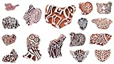 Handicraft-Palace Wooden Block Stamps Handcarved Designer Craft Printing Pattern for Saree Border Henna Textile Printing Scrapbooking Pottery Crafts Wall Painting Indian (10 pc Set)