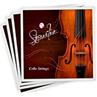 Stravilio Full Set of Cello Strings, Size 4/4 and 3/4 Cello Strings, Steel Core with Alloy Wound, Medium Tension Soft…