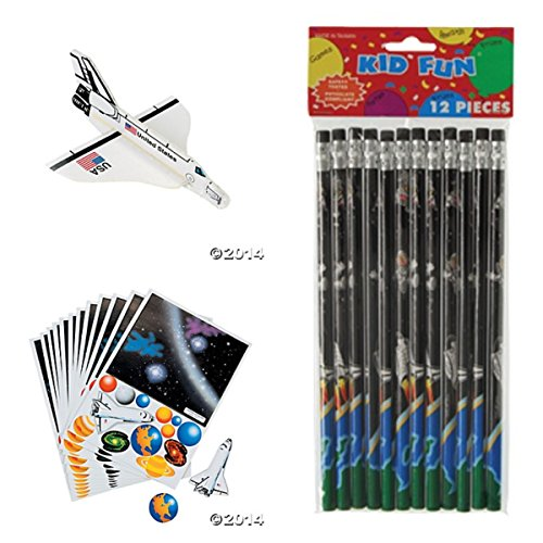 Space Party Supplies (36 Solar System SPACE SHUTTLE- PARTY FAVORS -12 Outer Space PENCILS -12 SPACE Shuttle Foam Gliders - 12 MAKE a SOLAR System Sticker Sheets Science Classroom Give-aways - TEACHER Incentives)