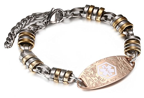 JF.JEWELRY Stainless Steel Elliptic Etching Tags Medical Alert ID Bracelet for Women,Free ()