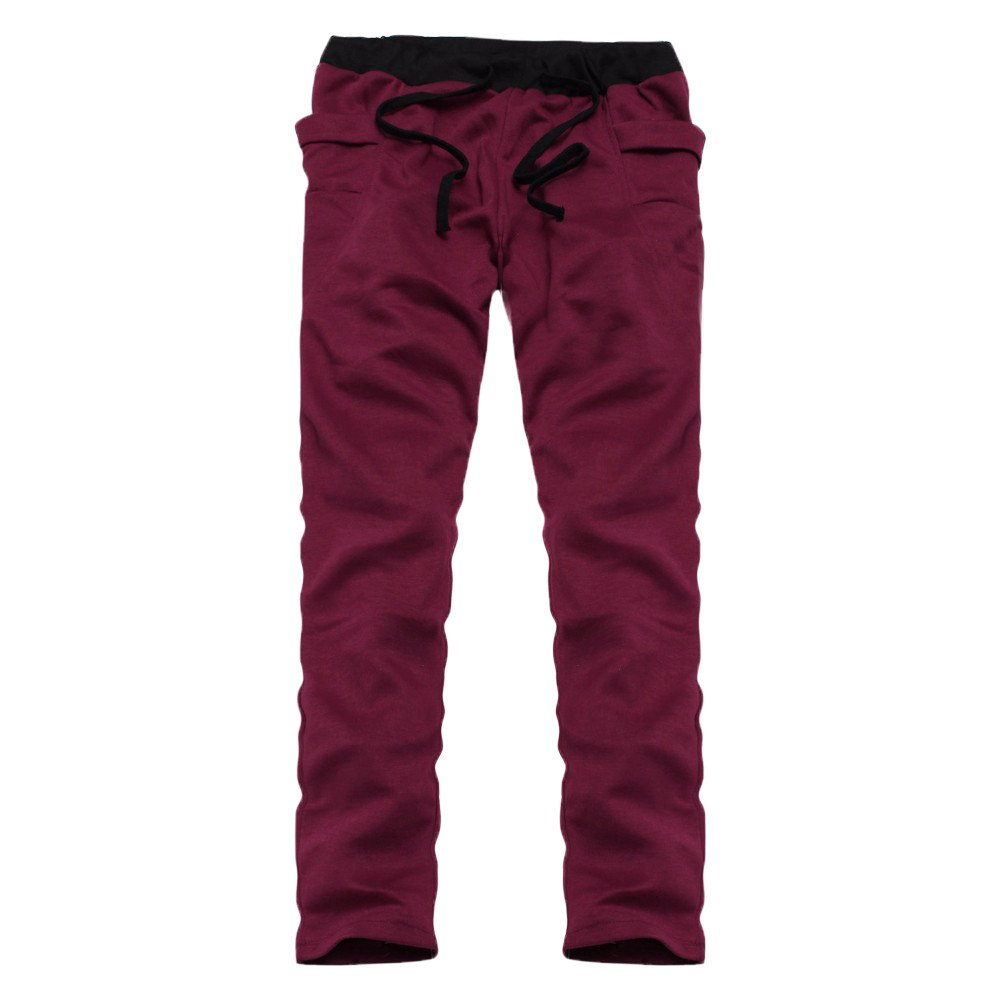 TnaIolral Mens Pants Casual Trunks Sweatpants Trousers Wine Red