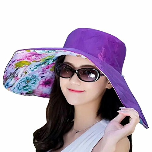 Printed Hat Floppy (LYX Waterproof Sun Hat for Women Women's Anti-UV Sun Protective Beach Wide Brim Fishing Hat Floppy Foldable Roll up Beach Cap)