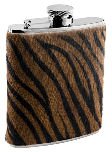 Visol Tiger Fur Liquor Flask, 6-Ounce, Brown