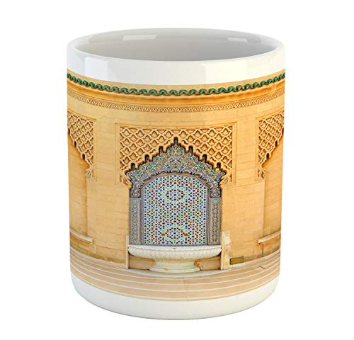 Ambesonne Architecture Mug, Photo of Moroccan Style Fountain with Folkloric Mosaic Tiles, Printed Ceramic Coffee Mug Water Tea Drinks Cup, Pale Orange and Multicolor