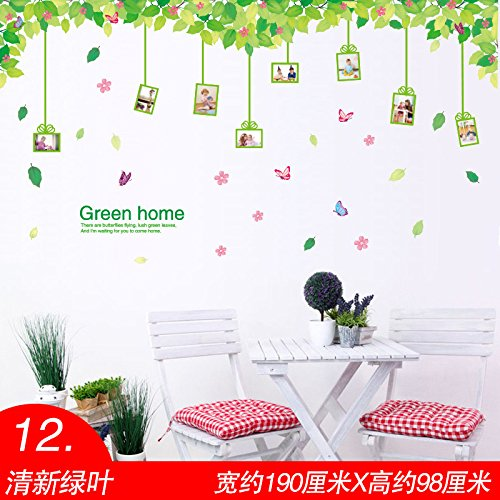 Znzbzt Wallpaper self adhesive wall decals creative wall decoration wallpaper, Green Leaf (Creative Wallpaper Leaves)