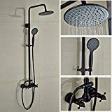 "Votamuta Oil Rubbed Bronze Black Bathroom Shower Faucet 8"" Rainfall Shower Head 2 Cross Handles with Handheld Sprayer"