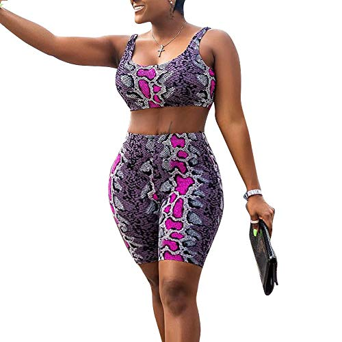 OEUVRE Womens 2 Pieces Set Snakeskin Bodycon Outfit Romper Sweatsuit Tracksuit Jumpsuit Sleeveless Tank Crop Top Bermuda High Waist Shorts Purple -
