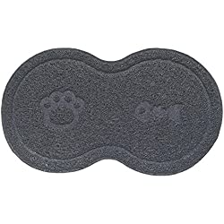 Yunt Pet Feeding Mat for Dogs and Cats, Pets Food Mat in 8 Figure Shape for Pet Food & Water Bowl, Non Slip and Easy to Clean(Gray)