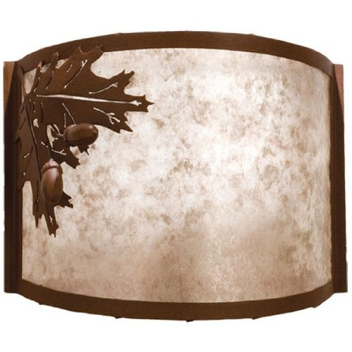 Meyda Tiffany Custom Lighting 23836 Oak Leaf and Acorn 1-Light Wall Sconce, Rust Finish with Silver Mica ()