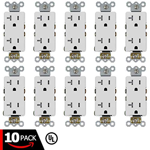 ESD Tech 20A Decora Duplex Receptacle - 10 Pack of Self- Grounding Tamper Resistant Electrical Wall Outlets, White, UL Listed, Residential & Commercial Grade, Straight Blade, 2-Pole (Renewed)