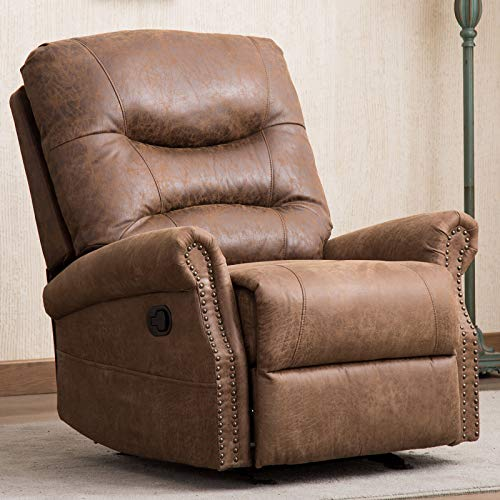 CANMOV Leather Rocker Recliner Chair, Classic and Retro Design 1 Seat Sofa Manual Reclining Chair with Lateral Pocket and Overstuffed Back, Chocolate