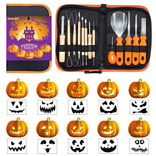 QIQIGO Pumpkin Carving Kits 13 Piece Professional Pumpkin Cutting Supplies Tools Set for kids Stainless Steel with Stencils for Halloween Decoration jack-o-lanterns