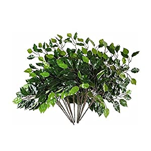 Mezly Artificial Silk Ficus Tree Branches Faux Fake Lamination Green Leaves Arrangements Anti-UV Home Garden Office Market Restaurant Wedding Decor 12