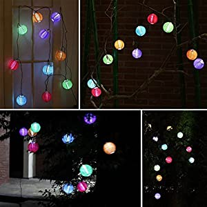 E-joy® Solar Color Led Chinese String Lights Outdoor Decorative Lights for Patio, Garden, Lawn; (10 Pc Colar Lanterns)