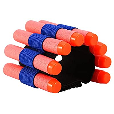 Tbest Bullet Wrist Strap,2 pcs EVA Soft Bullets Gun Bullet Dart Ammo Storage Wrist Belt Band Strap Bandolier for N-Strike Elite Series Blasters: Toys & Games