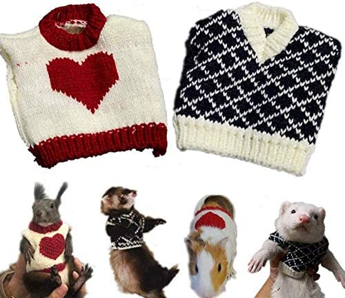 HAICHEN TEC 2 PCS Ferret Clothes Small Animal Sweater Warm Winter Vest Knitted Sweatershirt Ferret Apparel Accessory Halloween Party Cosplay Photo Shoot for Ferret Bunny Guinea Pig Squirrel