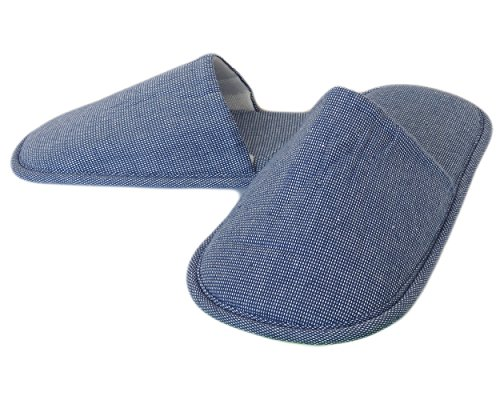 (2 Pairs) Amatahouse Aro Luxury Home Hotel & Spa Slippers 100% Genuine Cotton Blue Bath Shoes 11