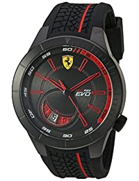 Ferrari Men's Quartz Stainless Steel and Silicone Automatic Watch, Color: Black (Model: 830339)