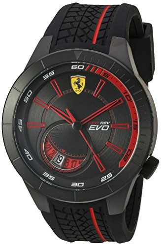Ferrari Men's Quartz Stainless Steel and Silicone Watch, Color:Black (Model: 830339)