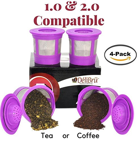 4 Reusable K Cups for Keurig 2.0 & 1.0 Coffee Makers. Universal Refillable KCup. Reusable kcup, k cup k-cups reusable filter, keurig filter by Delibru