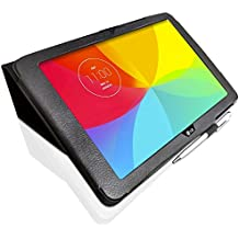 LG G Pad 10.1 (10.1 inch) V700 Custom Made Multi-Angle 'Pen' Case with Stand Function and 2 in 1 Stylus / Biro Pen by LuvTab (BLACK)