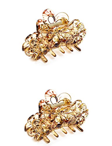 """2 Pieces 3.5"""" Colorful no slip Hollow Flower design Plastic Crystal Banana clip accessories Hair Claw for Women (Gold hair)"""
