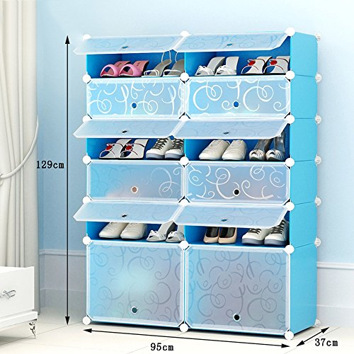 ALUS- Simple And Modern Multifunction Shoe Cabinet,Combination Of Large-capacity Multi-layer Resin Plastic Shoes Storage Rack,Dust-proof Small Shoe Rack ( Size : 9537129cm ) by Shoe cabinet/Shoe rack (Image #1)'
