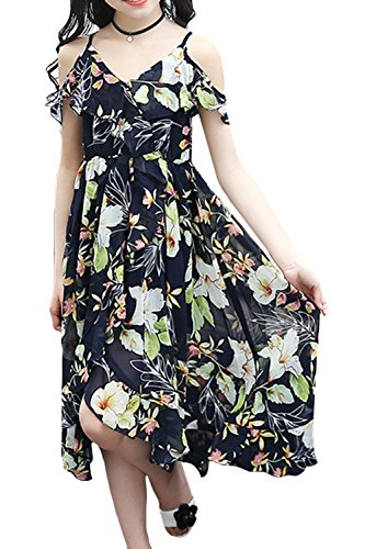 (Big Girls Hawaiian Dresses Off The Shoulder Floral Short Sleeve Strapless Summer Beach Dress (Navy Blue 7-8Y))